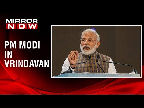 Prime Minister Narendra Modi addresses people at the Akshay Patra event in Vrindavan
