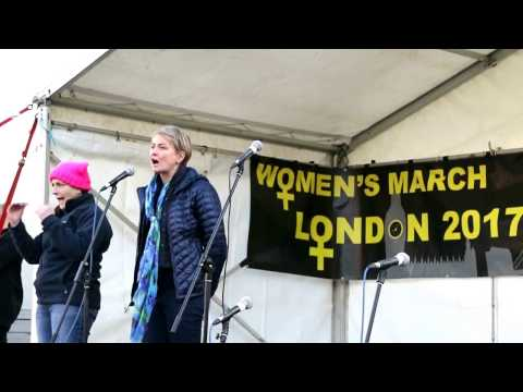Yvette Cooper at Women's March On London.