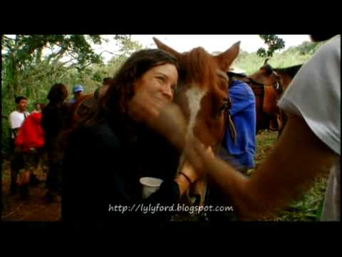 Jeremy Davies and Evangeline Lilly sharing moment with horse