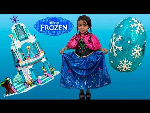 Frozen Toys Video – Elsa & Anna Toys Giant Frozen Play Doh Surprise Egg + Lego Castle + Kinder Egg