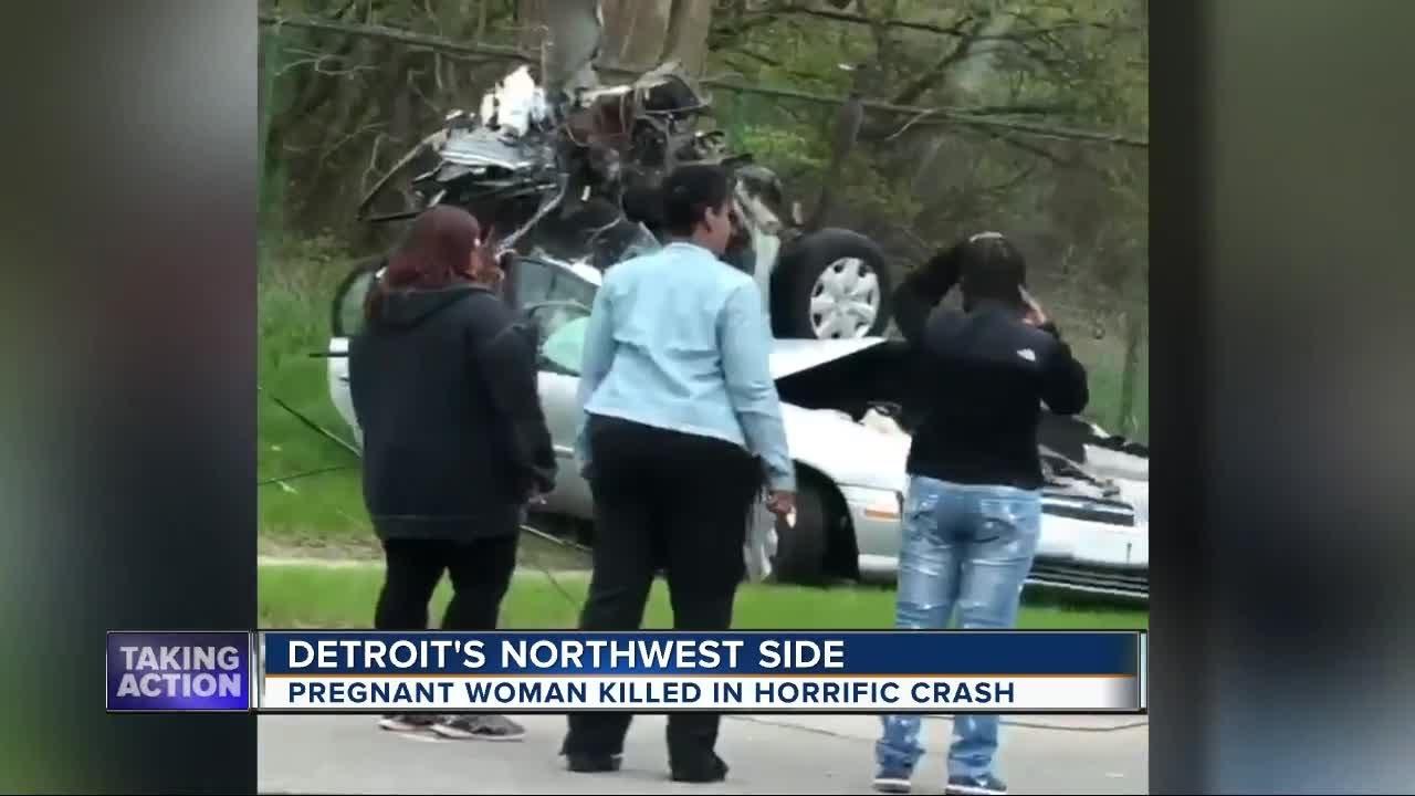 Pregnant woman killed in horrific crash on Detroit's west side