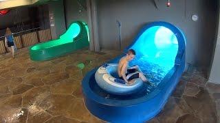 Exciting Blue Water Slide at Aquadome Billund