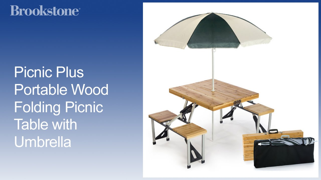 Picnic Plus Portable Wood Folding Picnic Table With Umbrella Youtube