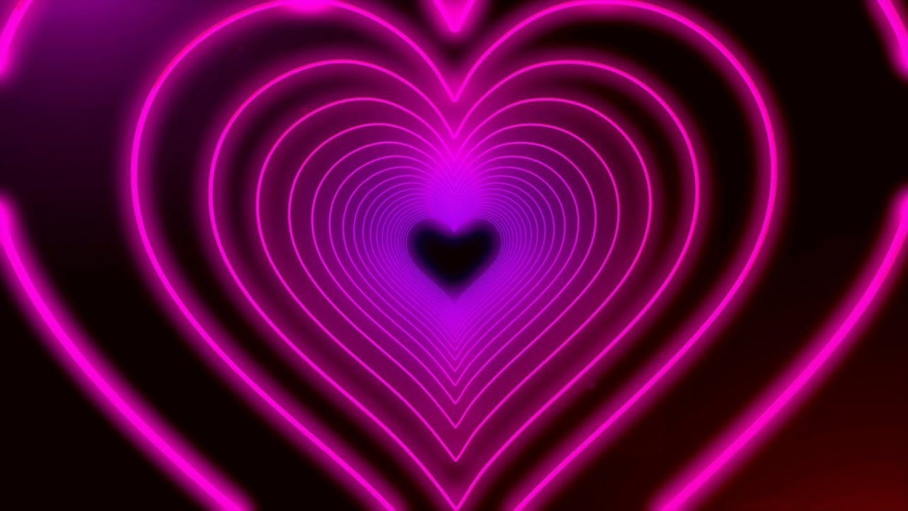 Download Neon Lights Love Heart Tunnel and Romantic Abstract Glow Particles Background