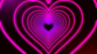 Neon Lights Love Heart Tunnel and Romantic Abstract Glow Particles Background