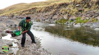 Pescador PESCA TRUCHAS DE RÍO - Pescando TRUCHAS CON ATARRAYA
