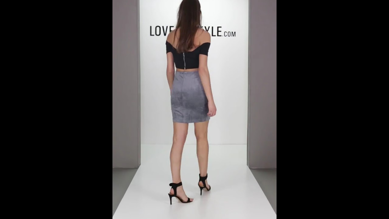0b52e41d1 Lovemystyle Grey Faux Suede Mini Skirt With Lace Up Detail