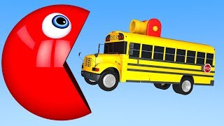 Learn Colors with PACMAN and School Bus m&m Chocolate Street Vehicle for Kids Children
