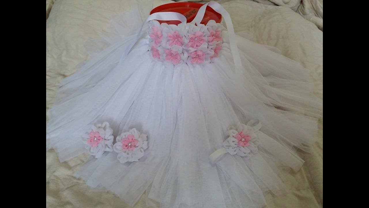 DIY How To Make Tutu Dress For Baby Christening Baptism Or