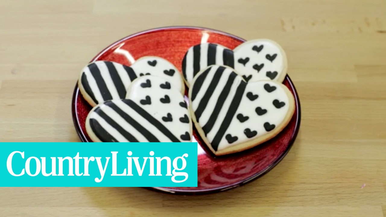 Black & White Striped Heart Cookies | Country Living