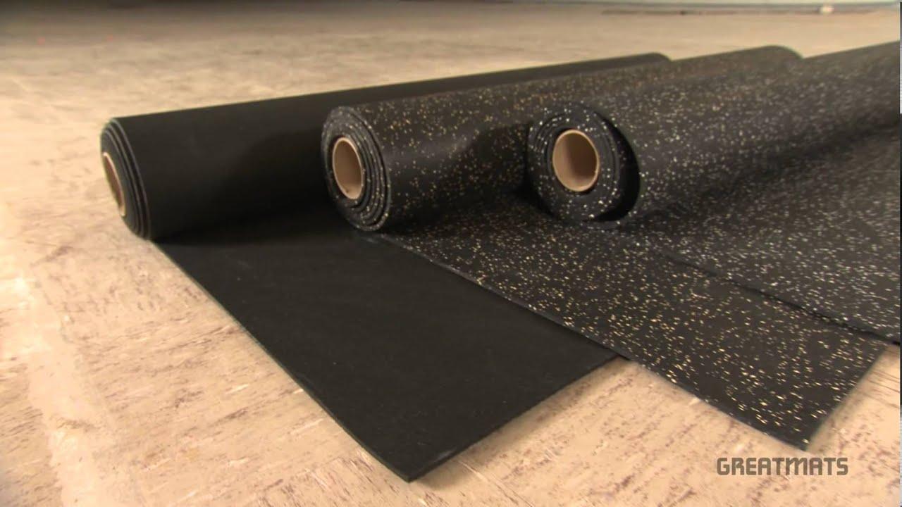 Rubber Flooring Rolls - 4x10 ft Home Gym Floors - YouTube