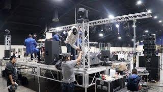 rcf line array system amp jbl srx system behind the scenes