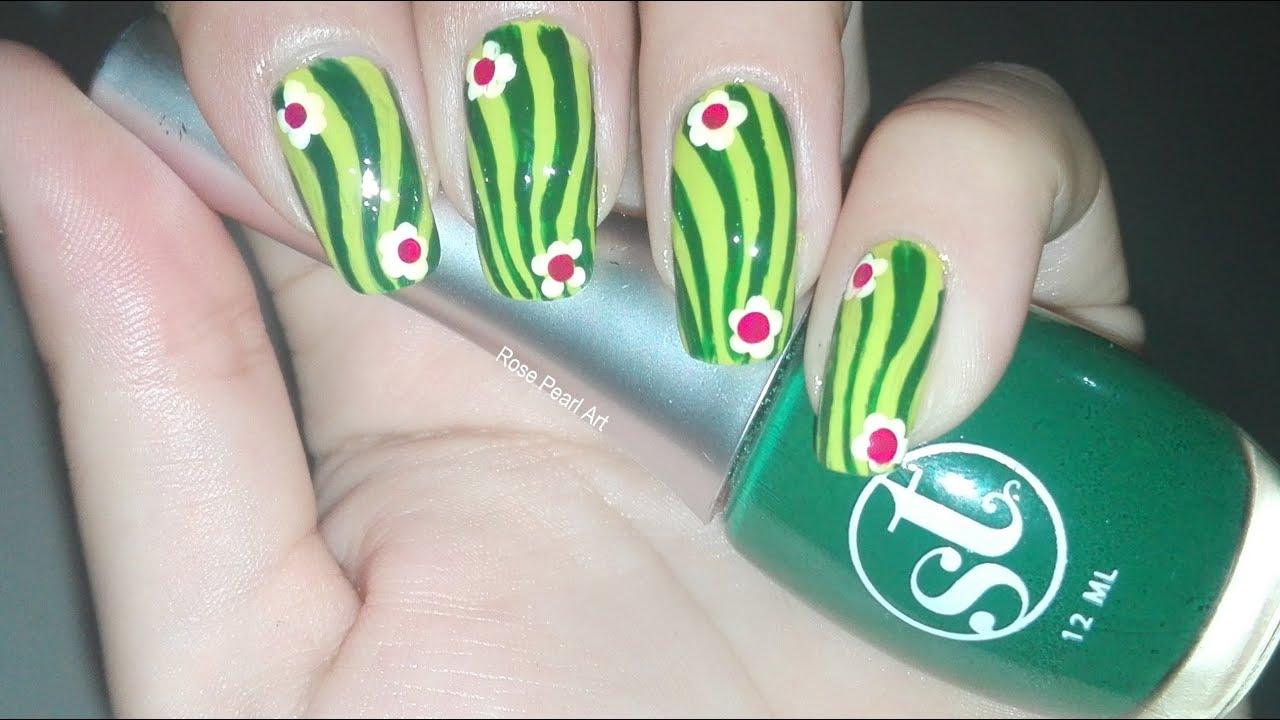 Cactus Manicure- Summers Nail Art Tutorial | Rose Pearl