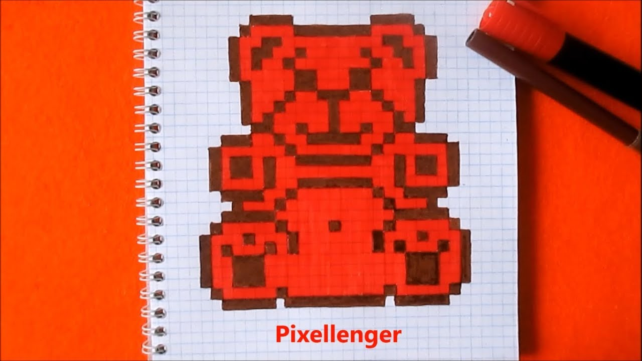 Как нарисовать Медведя Валеру по клеточкам в тетради ...
