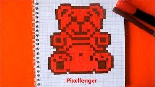 Как нарисовать Медведя Валеру по клеточкам в тетради Пиксель Арт