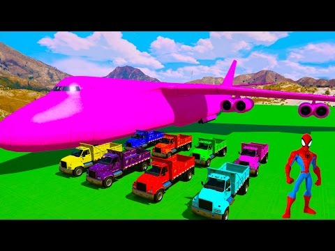 Thumbnail: COLOR Truck Transportation on Biggest Airplane - Learn Colors 3D Animation for Kids Nursery Rhymes