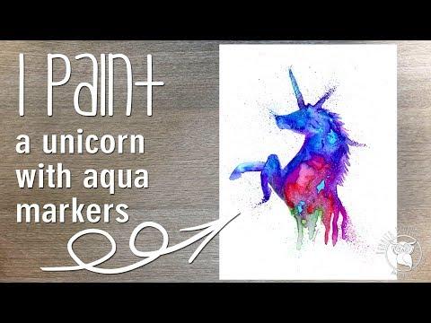 Unicorn watercolour Painting Spectrum Noir Aqua Markers