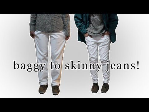 Jeans baggy top skinny bottom