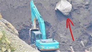 Excavator Digging Loading Screening Sand Into Dump Truck Kobelco SK200