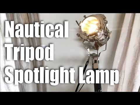 Vintage Modern Collectible Chrome Searchlight Nautical Tripod Spotlight Lamp Setup and Review