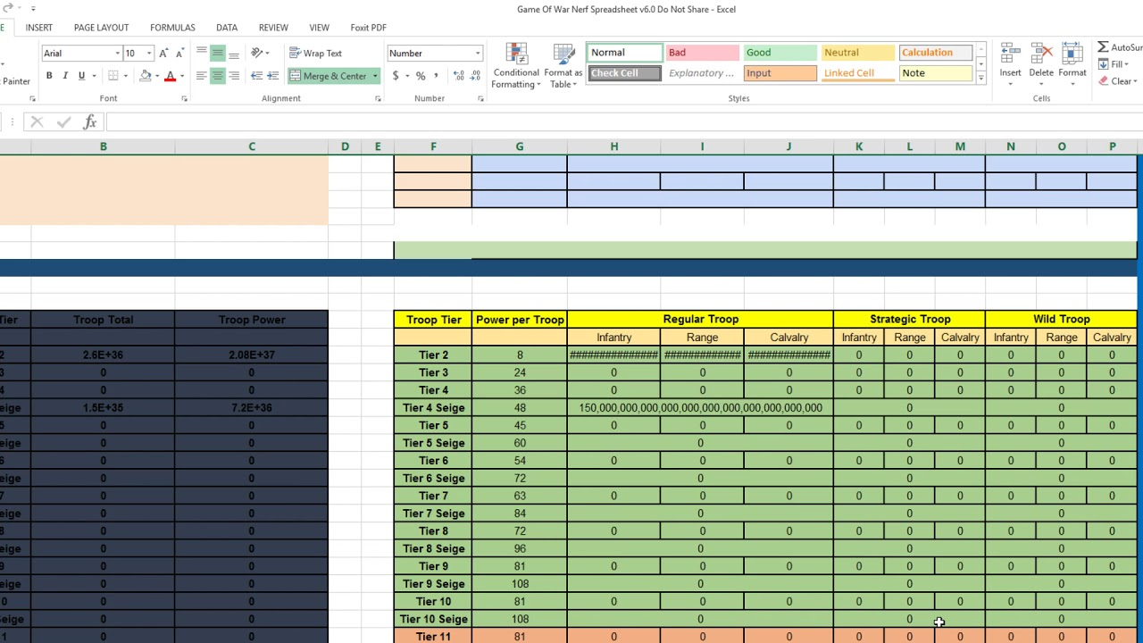 Game Of War: Nerf Spreadsheet v6 0 Unit in KTTT and MTTT -Donate for a copy  or can make one yourself