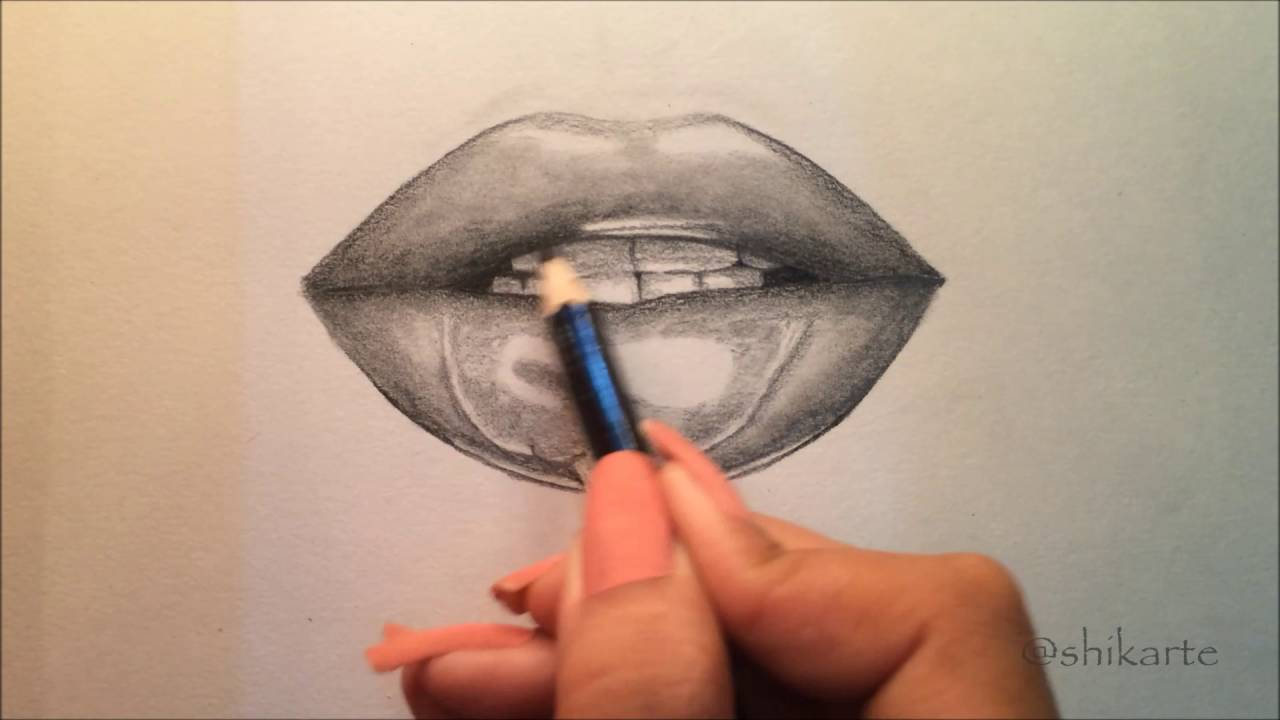 How To Draw Realistic Lips Using Regular And Black Pencil (time Lapse)