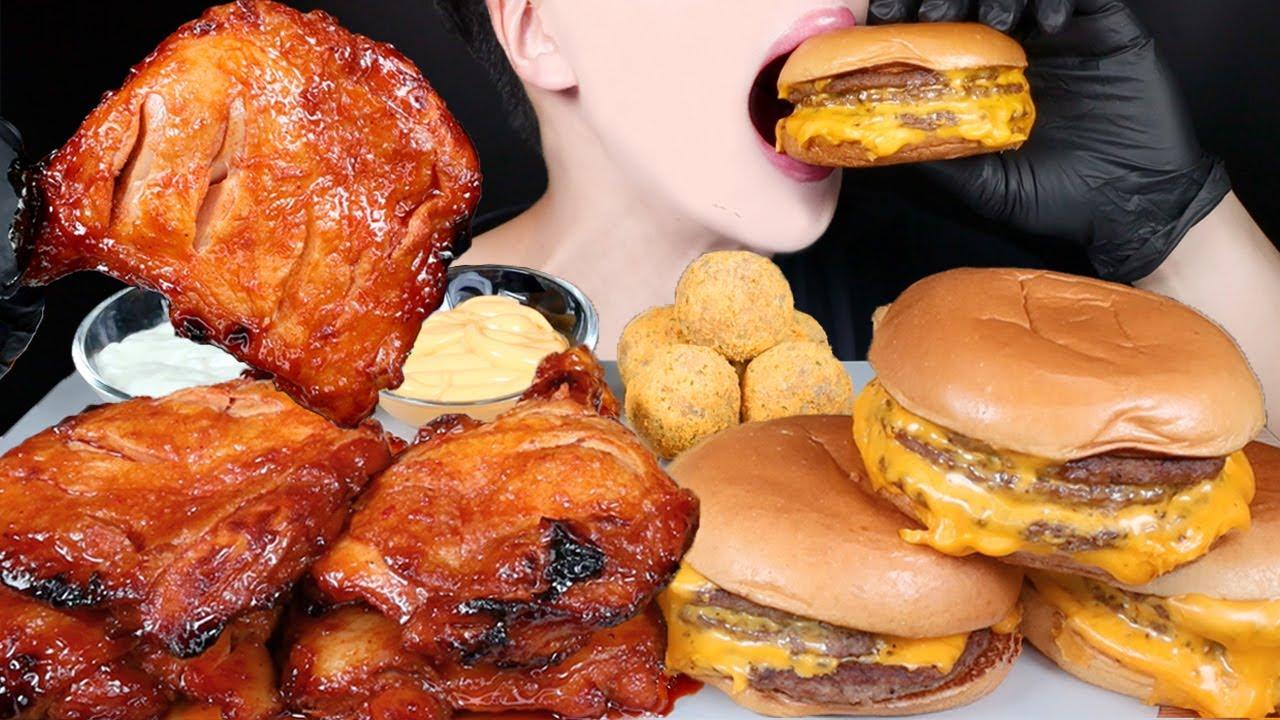 ASMR TRIPLE CHEESEBURGERS MCDONALD'S CHICKEN MUKBANG 치즈버거 치킨 먹방 マクドナルド チーズバーガー チキン 咀嚼音 EATING SOUNDS
