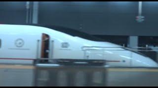 九州新幹線つばめ800系が停車する博多駅を出発していく山陽新幹線上りN700系のぞみの車窓