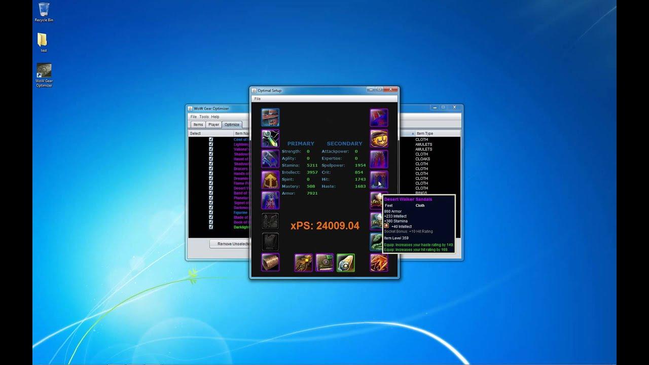 WoW Gear Optimizer - Optimization Run (HD)