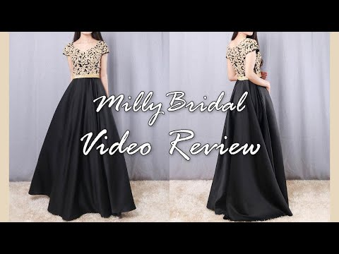 evening-dresses- -long-princess-v-neck-satin-lace-black-formal-prom-dress---millybridal-video-review