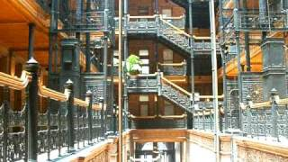 Inside the restored Bradbury Building. Downtown Los Angeles California.