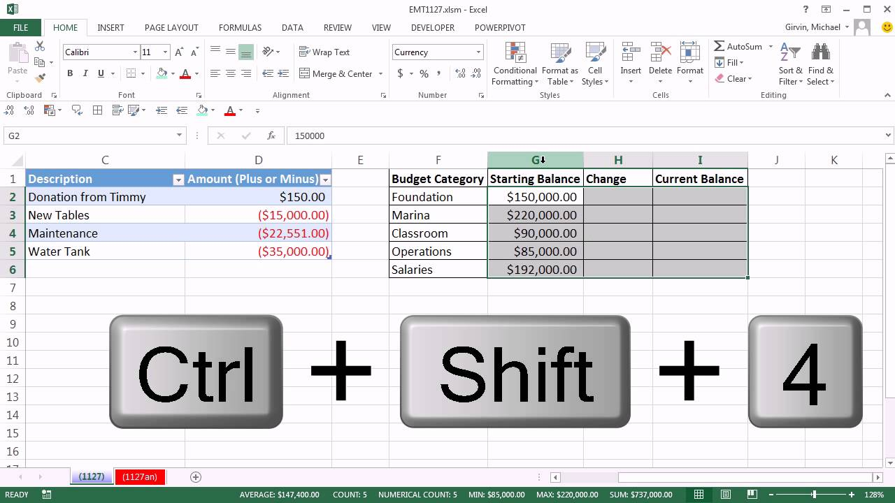 how to track spending in excel