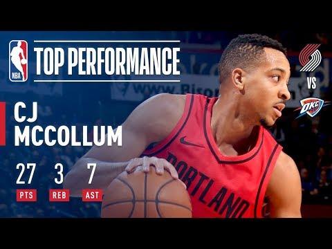 C.J. McCollum's 27 and 7 Power Blazers to Win in OKC | January 9, 2018