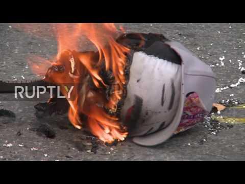 Venezuela: Trump and Maduro effigies set alight in Caracas during Judas burning ceremony