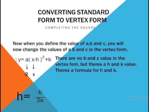Converting Standard Form To Vertex Form Easy Youtube