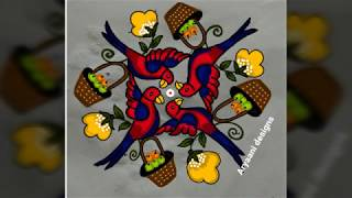 Latest and creative flying parrots...simple rangoli..9 to 3 dots...
