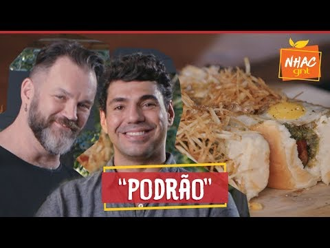 Cachorro-quente de salsichão com ovo de codorna frito e batata palha  Bronze e Jimmy Perto do Fogo