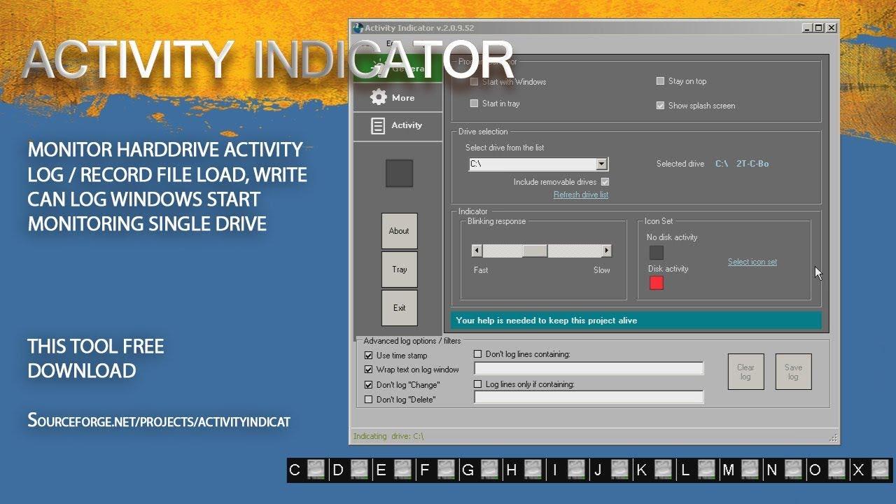 Activity Indicator monitoring software access harddisk