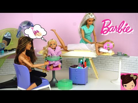 Barbie and Chelsea Spa Day Routine - Barbie Doll Beauty Salon Toy
