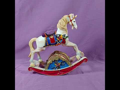 Rocking Horse Music Box Vintage Ceramic Rocks & Plays