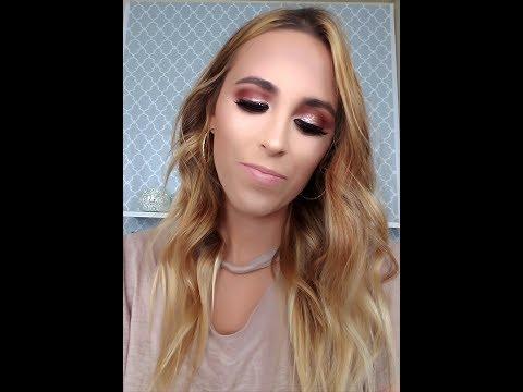 Rose Gold Glitter Eye Makeup Tutorial Using Morphe 35o Palette