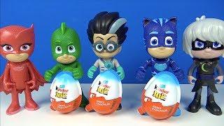 Pj Masks Are Unboxing 3 Kinder Joy Surprise Eggs Catboy Owlette Gekko Romeo Stop