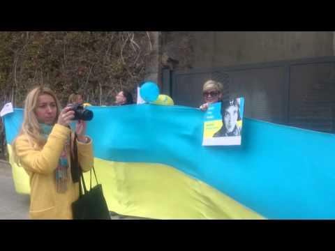 Свободу Надії Савченко. Мітинг в Барселоні 09.03. 2016 року.