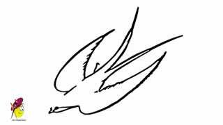 bird drawing simple line easy sketch swallow draw drawings sketches paintingvalley