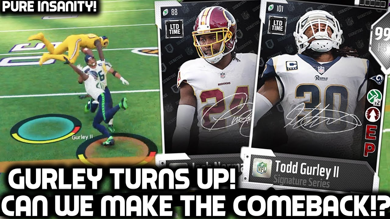 can-we-make-the-comeback-99-ovr-todd-gurley-josh-norman-madden-18-ultimate-team