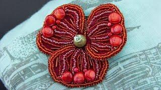 Подробный мастер класс: брошь крупный цветок мака из бисера и камней своими руками