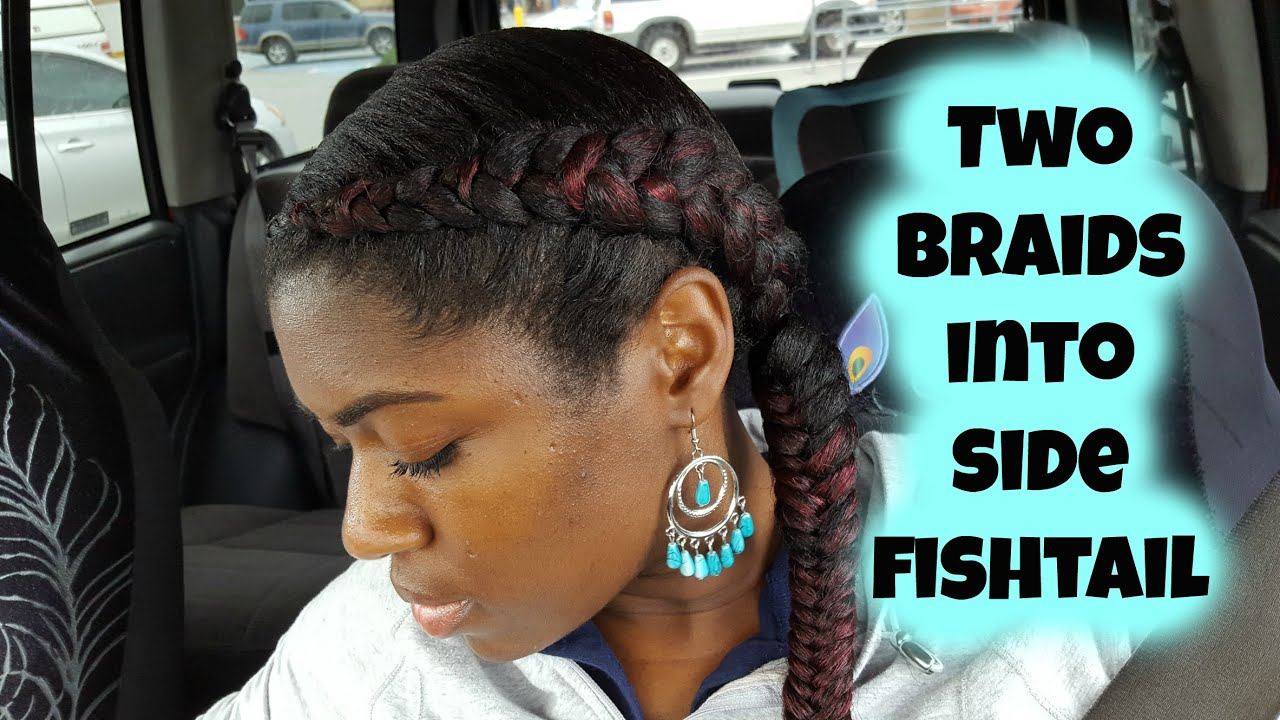 Two Braids into Side Fishtail Braid - YouTube