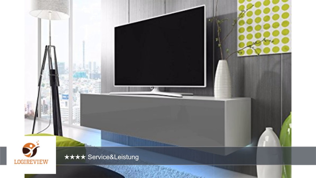 tv schrank lowboard h ngeboard simple mit led blau wei matt grau hochglanz 160 cm youtube. Black Bedroom Furniture Sets. Home Design Ideas