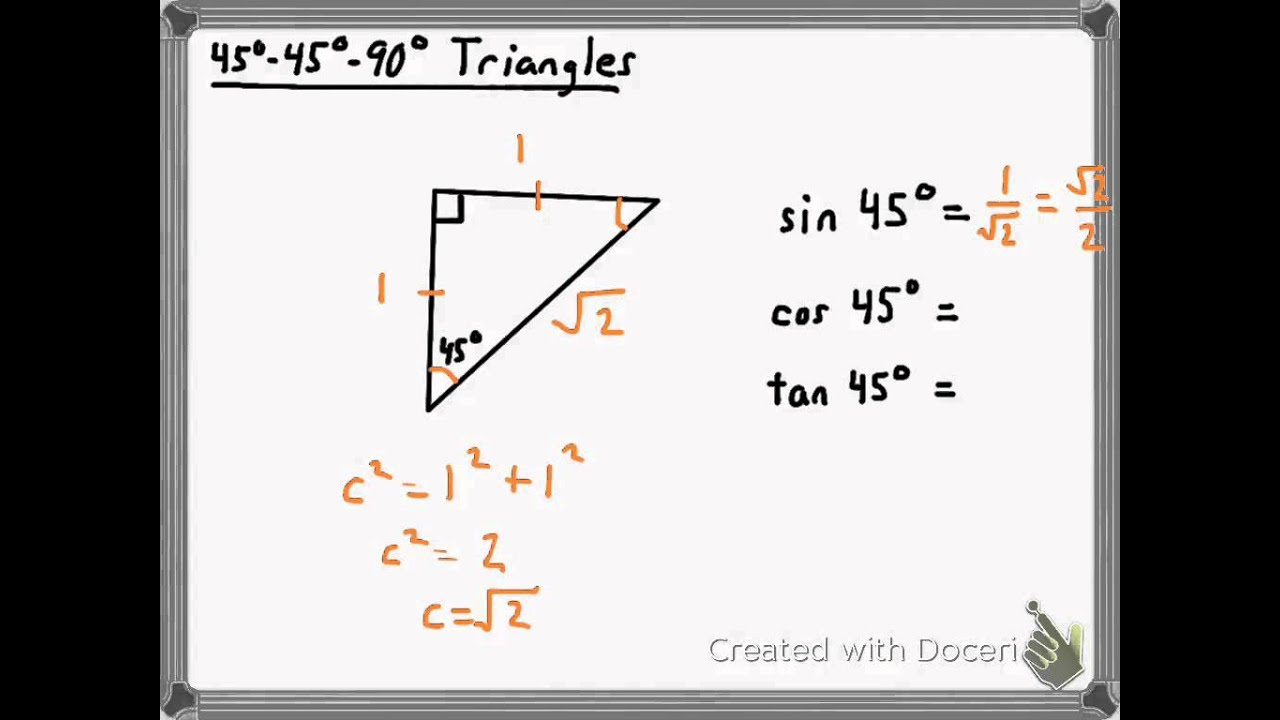 Trig Ratios For 45 45 90 Triangles