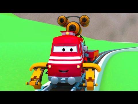Troy lokomotywa i Pędzący Pociąg w Miasto Samochodów | Samochody bajka o maszynach dla dzieci